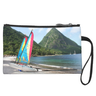 Sailing Boat and water sports equipment on a beach Suede Wristlet