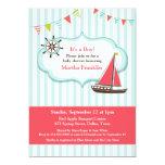 Sailing Boat Baby Shower Flat Invitation