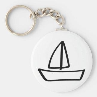 sailing boat basic round button keychain