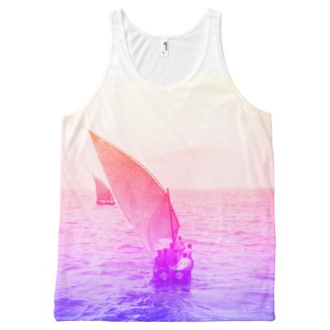 Beach Themed Sailing Boat Colourful Vintage Photo Beachwear All-Over-Print Tank Top