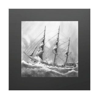 Sailing boat in black and white on high seas canvas print