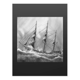 Sailing boat in black and white on high seas postcard