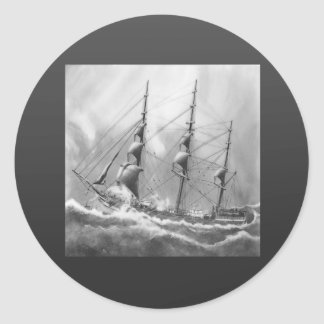 Sailing boat in black and white on high seas round stickers