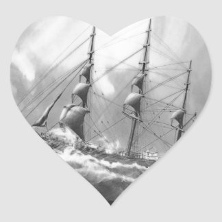 Sailing boat in black and white on high seas stickers