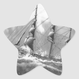 Sailing boat in black and white on high seas star stickers
