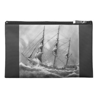 Sailing boat in black and white on high seas travel accessory bag