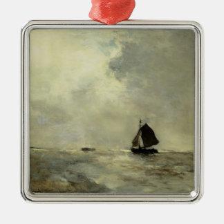 Sailing Boat in Choppy Seas by Johan Weissenbruch Christmas Tree Ornament