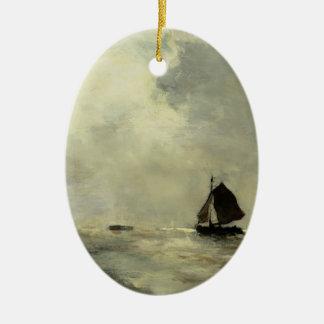 Sailing Boat in Choppy Seas by Johan Weissenbruch Christmas Ornament
