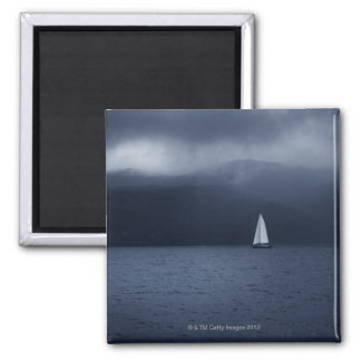 Sailing boat in stormy weather in Scottish 2 Inch Square Magnet