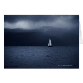 Sailing boat in stormy weather in Scottish Card