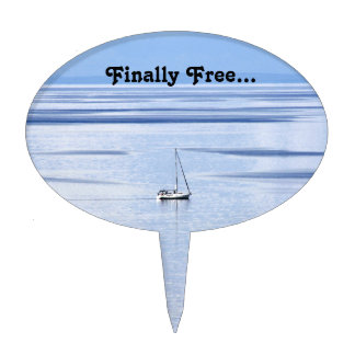 Sailing boat on sea, Nautical, blue water sky Cake Topper