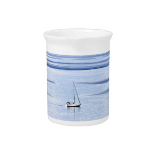 Sailing boat on sea, Nautical, blue water sky Pitcher
