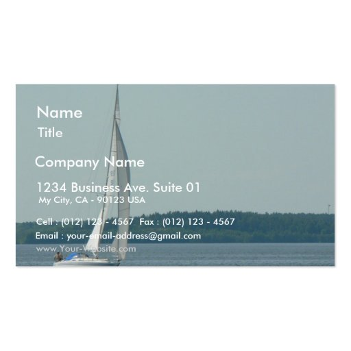 Sailing boat on water business card templates zazzle for Boat business cards