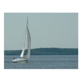 Sailing Boat On Water Postcard