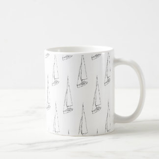 Sailing Boat Pattern. Black and White. Coffee Mug