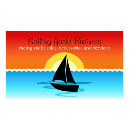 Vibrant Sunset Sailing Yacht Black Silhouette Boat in the Ocean Boating Business Cards