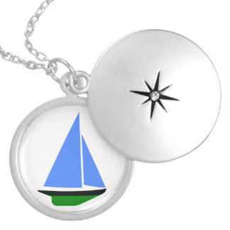 Sailing Boat - Sailing ship (09) Round Locket Necklace
