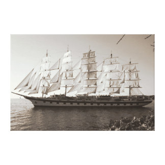 Sailing boat schooner in sepia on canvas