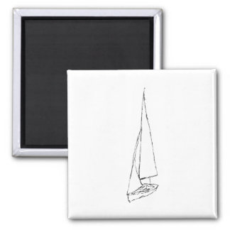 Sailing boat. Sketch in Black and White. 2 Inch Square Magnet
