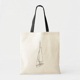 Sailing boat. Sketch in Black and White. Budget Tote Bag