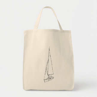 Sailing boat. Sketch in Black and White. Grocery Tote Bag