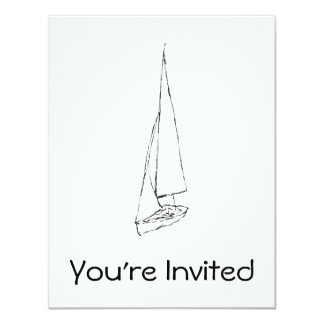 Sailing boat. Sketch in Black and White. Card