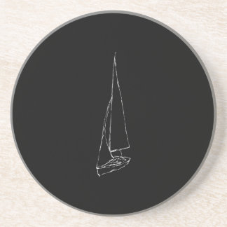 Sailing boat. Sketch in Black and White. Drink Coaster