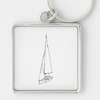Sailing boat. Sketch in Black and White. Keychains