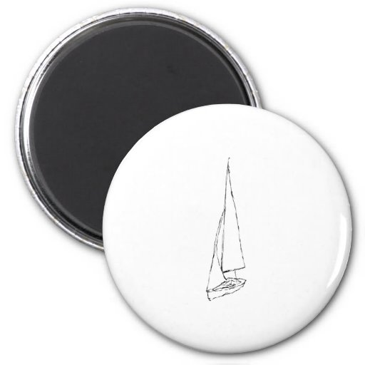 Sailing boat. Sketch in Black and White. Fridge Magnets