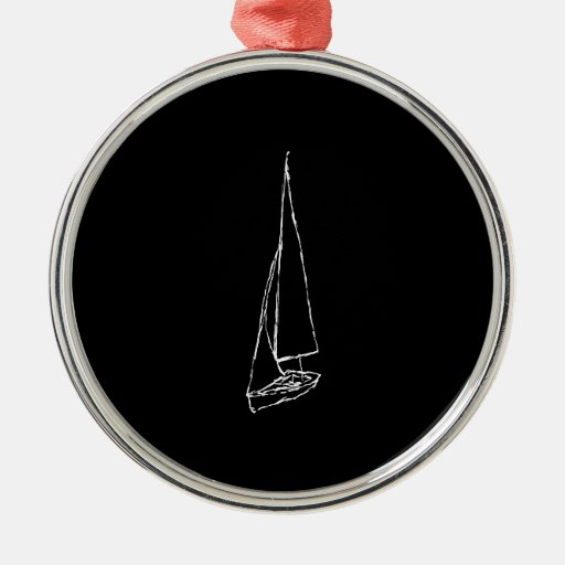Sailing boat. Sketch in Black and White. Christmas Tree Ornaments