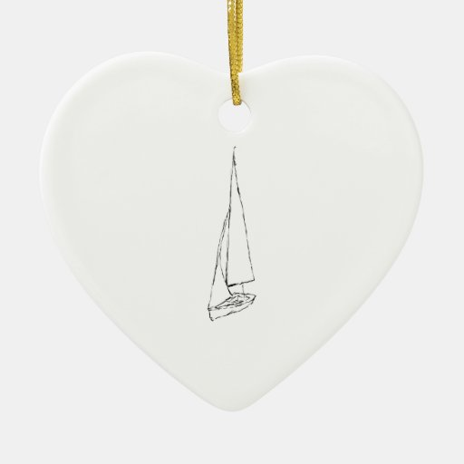 Sailing boat. Sketch in Black and White. Double-Sided Heart Ceramic Christmas Ornament