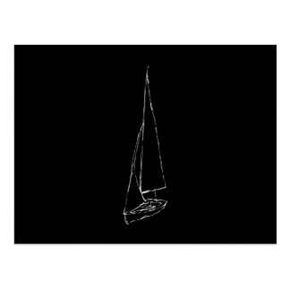 Sailing boat. Sketch in Black and White. Postcard