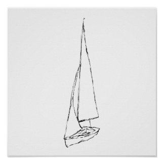 Sailing boat. Sketch in Black and White. Poster