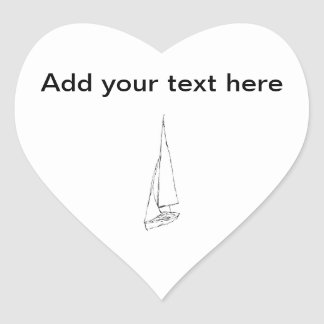 Sailing boat. Sketch in Black and White. Heart Sticker