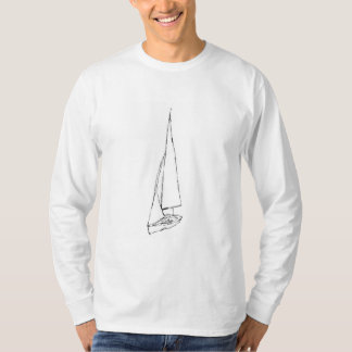 Sailing boat. Sketch in Black and White. T-shirt