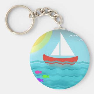 Sailing Boat Summer Sea Cartoon Keychain