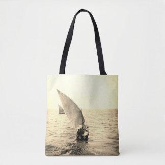Sailing Boat Vintage Photo Ocean Motif Tote Bag