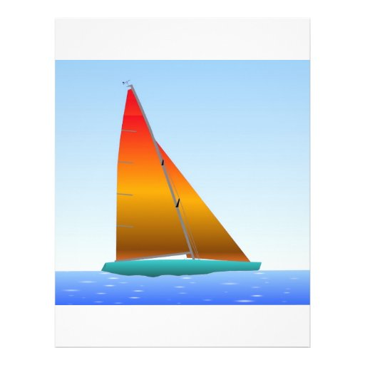 """Sailing Boat - Voilier (02) Folleto 8.5"""" X 11"""""""
