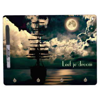 Sailing boat with full moon Leef ever droom note b Dry Erase Board With Keychain Holder