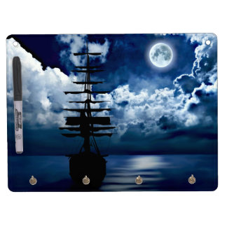 Sailing boat with full moon note board