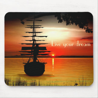 Sailing boat with sunrise mouse PAD