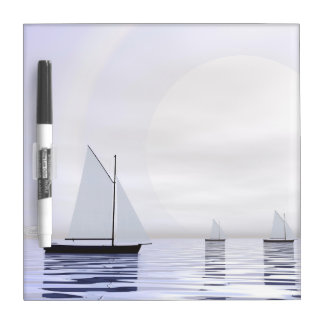 Sailing boats - 3D render Dry Erase Board