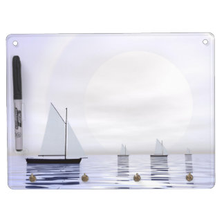 Sailing boats - 3D render Dry Erase Board With Keychain Holder