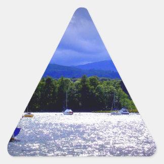 Sailing Boats & a Stormy Sky Triangle Sticker