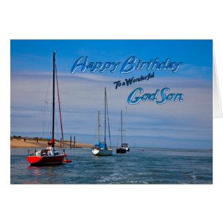 Sailing boats at anchor birthday card for Godson
