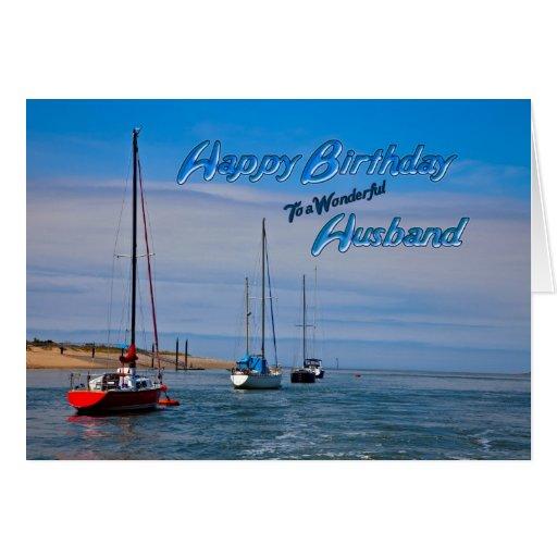 Sailing boats at anchor birthday card for husband