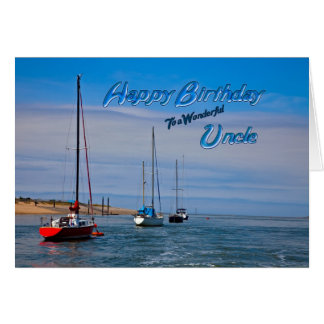 Sailing boats at anchor birthday card for uncle