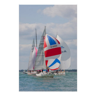 Sailing boats compete during Cowes Week in England Poster