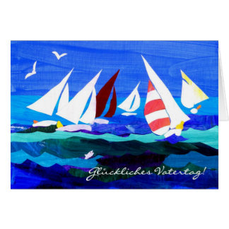 Sailing Boats Father's Day Card - German Greeting