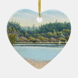Sailing Boats, Frensham Ponds Happy Birthday Heart Ceramic Ornament